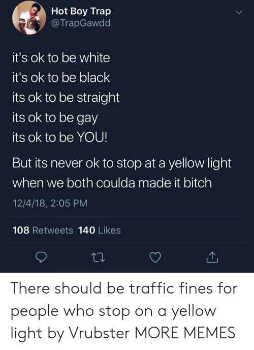Bitch, Dank, and Memes: Hot Boy Trap  @TrapGawdd  t's ok to be white  it's ok to be black  its ok to be straight  its ok to be gay  its ok to be YOU  But its never ok to stop at a yellow light  when we both coulda made it bitch  12/4/18, 2:05 PM  108 Retweets 140 Likes There should be traffic fines for people who stop on a yellow light by Vrubster MORE MEMES