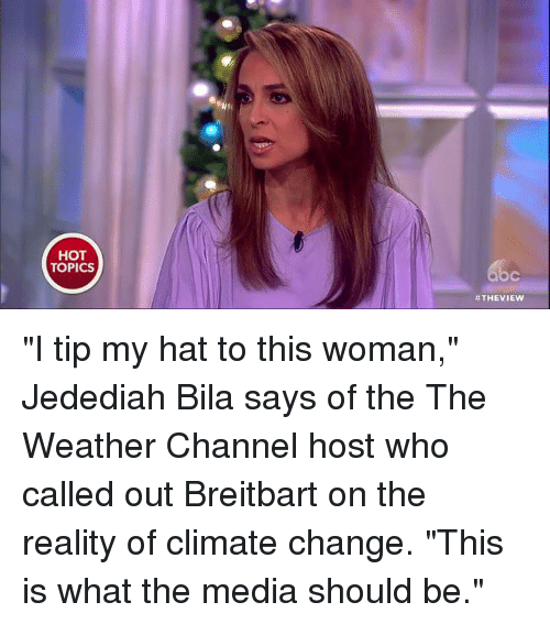 """The Weather Channel: HOT  TOPICS  #THE VIEW """"I tip my hat to this woman,"""" Jedediah Bila says of the The Weather Channel host who called out Breitbart on the reality of climate change. """"This is what the media should be."""""""