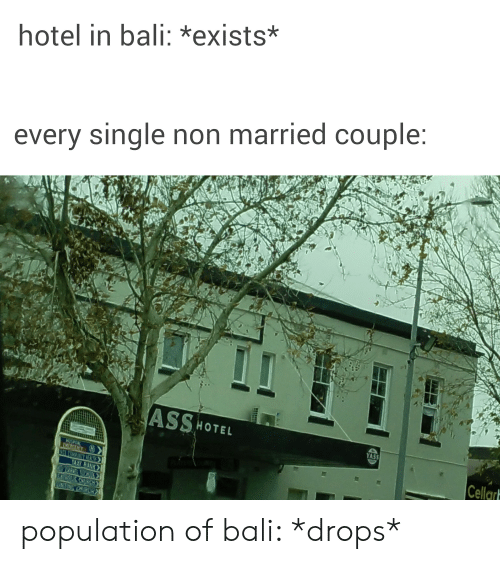Church, Bali, and Hotel: hotel in bali: *exists*  every single non married couple:  ASSHOTEL  YASS  Cellar  HOSMTAL  EVERGENCY H  TAXI RAN  CHURCH  GNING CHURC population of bali: *drops*
