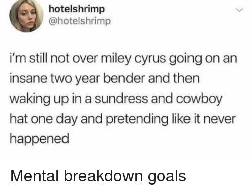 Goals, Miley Cyrus, and Miley Cyrus: hotelshrimp  @hotelshrimp  i'm still not over miley cyrus going on an  insane two year bender and then  waking up in a sundress and cowboy  hat one day and pretending like it never  happened Mental breakdown goals