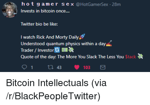 Quote Of The Day: hotgamer sex @HotGamerSex -28m  Invests in bitcoin once....  Twitter bio be like:  I watch Rick And Morty Daily  Understood quantum physics within a day  Trader/Investor  Quote of the day: The More You Slack The Less You Stack <p>Bitcoin Intellectuals (via /r/BlackPeopleTwitter)</p>