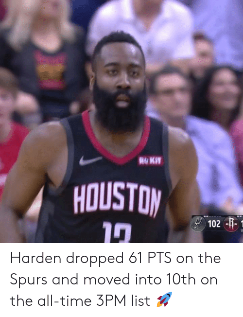 Spurs, Time, and The All: HOUSTOM Harden dropped 61 PTS on the Spurs and moved into 10th on the all-time 3PM list 🚀