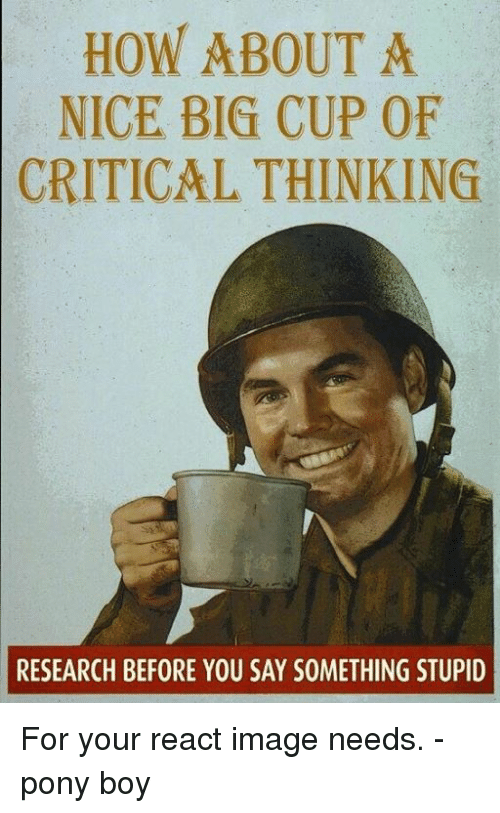 HOW ABOUT a NICE BIG CUP OF CRITICAL THINKING RESEARCH
