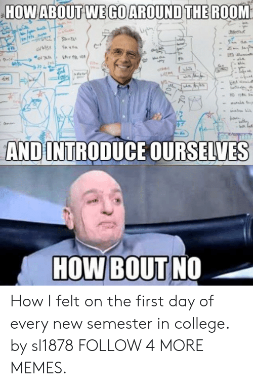 kon: HOW ABOUT WE GO AROUND THE ROOM  Zyt  uLA  ot  kon  AND INTRODUCE OURSELVES  HOW BOUT NO How I felt on the first day of every new semester in college. by sl1878 FOLLOW 4 MORE MEMES.