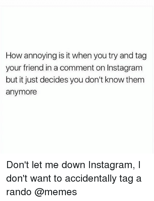 Randos: How annoying is it when you try and tag  your friend in a comment on Instagram  but it just decides you don't know them  anymore Don't let me down Instagram, I don't want to accidentally tag a rando @memes