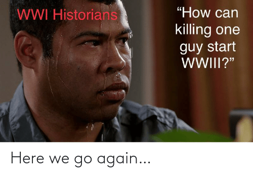 "Here We: ""How can  WWI Historians  killing one  guy start  WWIII?"" Here we go again…"