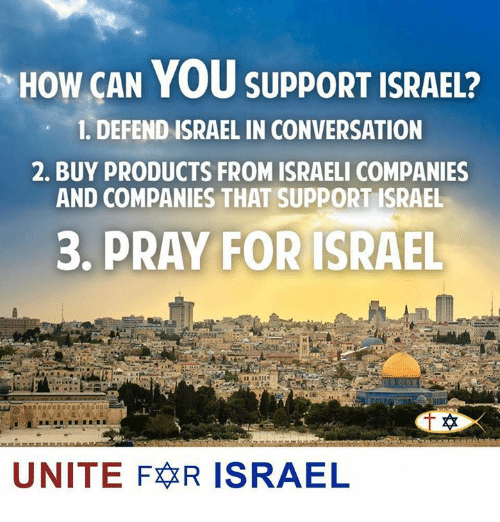 Memes, Israel, and Israeli: HOW CAN YOU SUPPORT ISRAEL?  1. DEFEND ISRAEL IN CONVERSATION  2. BUY PRODUCTS FROM ISRAELI COMPANIES  AND COMPANIES THAT SUPPORT ISRAEL  3, PRAY FOR ISRAEL  UNITE FR ISRAEL
