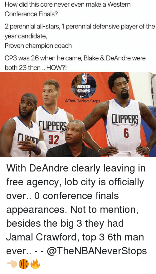 Western Conference Finals: How did this core never even make a Western  Conference Finals?  2 perennial all-stars, 1 perennial defensive player of the  year candidate,  Proven champion coach  CP3 was 26 when he came, Blake & DeAndre were  both 23 then .. HOW?!  NEVER  STOPS  @TheNBANeverStops  CLIPPERS  LIPPER With DeAndre clearly leaving in free agency, lob city is officially over.. 0 conference finals appearances. Not to mention, besides the big 3 they had Jamal Crawford, top 3 6th man ever.. - - @TheNBANeverStops 👈🏼🏀🔥