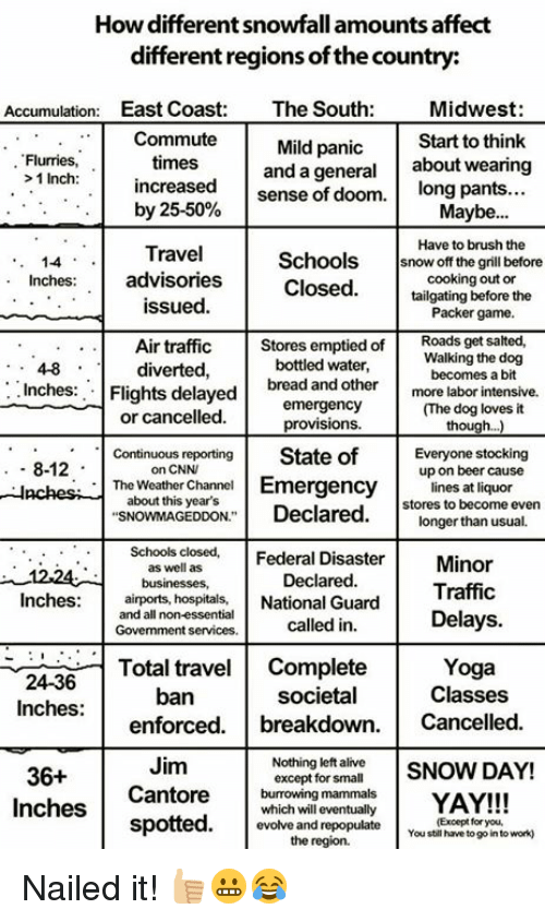 """Enforcer: How different snowfall amounts affect  different regions ofthe country:  Accumulation  East Coast  The South  Midwest  Commute  Mild panic  Start to think  Flurries,  times  and a general  about wearing  1 Inch  increased  sense of doom.  long pants  by 25-50%  Maybe  Have to brush the  Travel  Schools  snow off the grill before  1-4  advisories  cooking out or  nches  Closed  tailgating before the  issued.  Packer game.  Air traffic  Stores emptied of  Roads get salted,  diverted  bottled water,  Walking the dog  Inches  bread becomes a bit  Flights delayed  and other  more labor intensive.  emergency  or cancelled.  provisions  Continuous reporting  State of  Everyone stocking  8-12  on CNN  up on beer cause  The Weather Channel  Emergency  lines at liquor  about this year's  stores to become even  """"SNOWMAGEDDON"""" Declared  longer than usual.  Schools closed,  Federal Disaster  as well as  Minor  Declared.  businesses,  Traffic  Inches  airports, hospitals,  National Guard  called in  Delays  and all non-essential  Govemment services.  Total travel  Complete  Yoga  Classes  ban  societal  Inches:  enforced  breakdown  Cancelled  Jim  Nothing left alive  SNOW DAY!  36+  except for small  Cantore  burrowing mammal  YAY!!!  Inches  which will eventually  spotted  (Except for you,  evolve and repopulate  You still have to go into work)  the region. Nailed it! 👍🏼😬😂"""