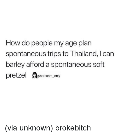 how-do-people: How do people my age plan  spontaneous trips to Thailand, I can  barley afford a spontaneous soft  pretzel A@sarcasm only (via unknown) brokebitch