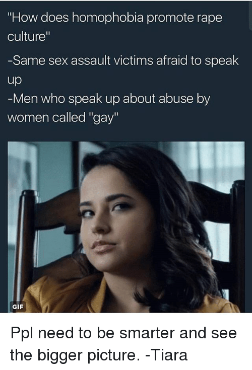 """Tiara: """"How does homophobia promote rape  culture""""  -Same sex assault victims afraid to speak  up  -Men who speak up about abuse by  women called """"gay""""  GIF Ppl need to be smarter and see the bigger picture. -Tiara"""