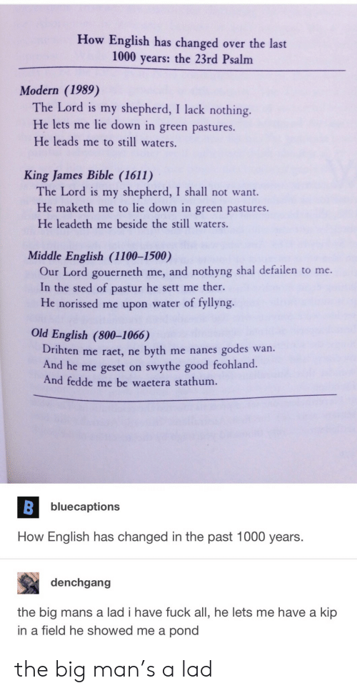 Kip: How English has changed over the last  1000 years: the 23rd Psalm  Modern (1989)  The Lord is my shepherd, I lack nothing.  He lets me lie down in green pastures.  He leads me to still waters.  King James Bible (1611)  The Lord is my shepherd, I shall not want.  He maketh me to lie down in green pastures.  He leadeth me beside the still waters.  Middle English (1100-1500)  Our Lord gouerneth me, and nothyng shal defailen to me.  In the sted of pastur he sett me ther.  He norissed me upon water of fyllyng.  Old English (800-1066)  Drihten me raet, ne byth me nanes godes wan.  And he me geset on swythe good feohland  And fedde me be waetera stathum.  bluecaptions  How English has changed in the past 1000 years.  denchgang  the big mans a lad i have fuck all, he lets me have a kip  in a field he showed me a pond the big man's a lad