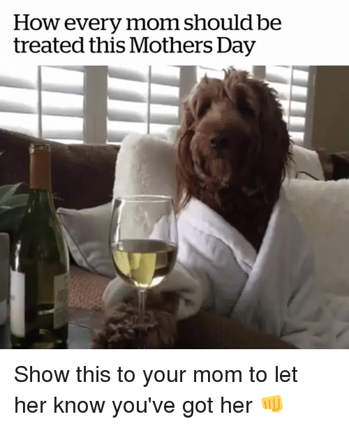 Mother's Day, Mothers, and Mom: How every mom should be  treated this Mothers Day Show this to your mom to let her know you've got her 👊