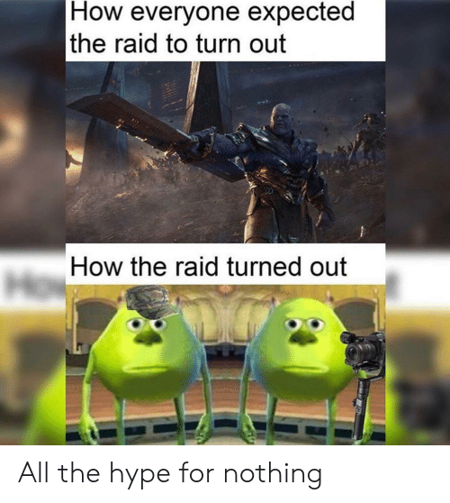 Hype, All The, and How: How everyone expected  the raid to turn out  How the raid turned out All the hype for nothing