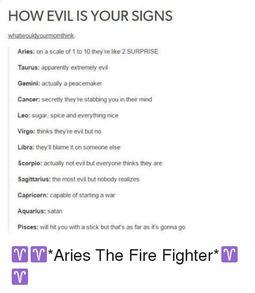 HOW EVIL IS YOUR SIGNS Whatwouldyourmomthink Aries on a