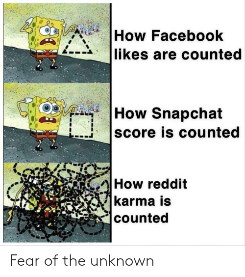 Facebook, Reddit, and Snapchat: How Facebook  likes are counted  How Snapchat  score is counted  How reddit  karma is  counted Fear of the unknown