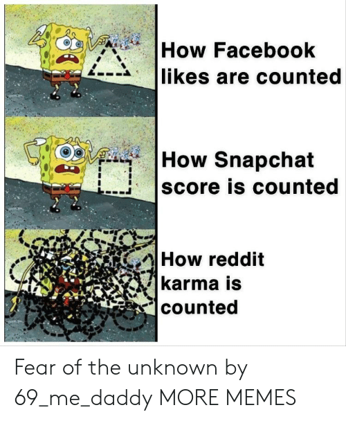 Me Daddy: How Facebook  likes are counted  How Snapchat  score is counted  How reddit  karma is  counted Fear of the unknown by 69_me_daddy MORE MEMES