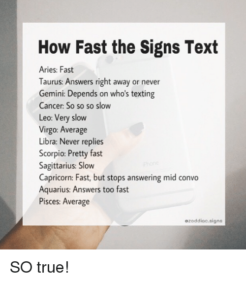 How Fast the Signs Text Aries Fast Taurus Answers Right Away