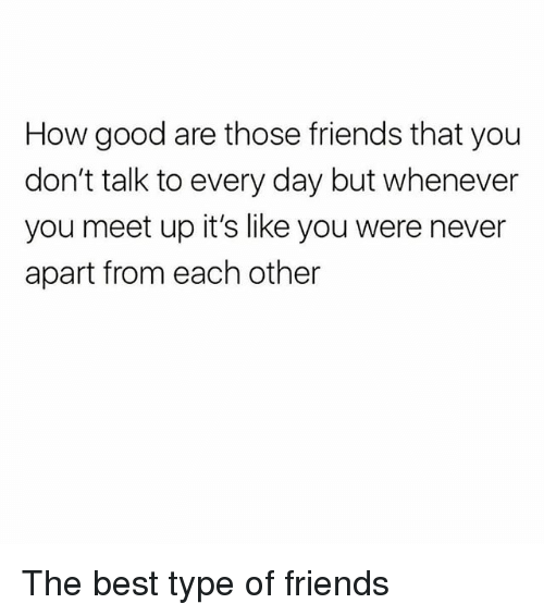 Friends, Memes, and Best: How good are those friends that you  don't talk to every day but whenever  you meet up it's like you were never  apart from each other The best type of friends