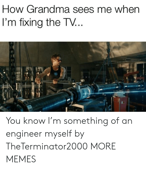 Dank, Grandma, and Memes: How Grandma sees me when  I'm fixing the TV... You know I'm something of an engineer myself by TheTerminator2000 MORE MEMES
