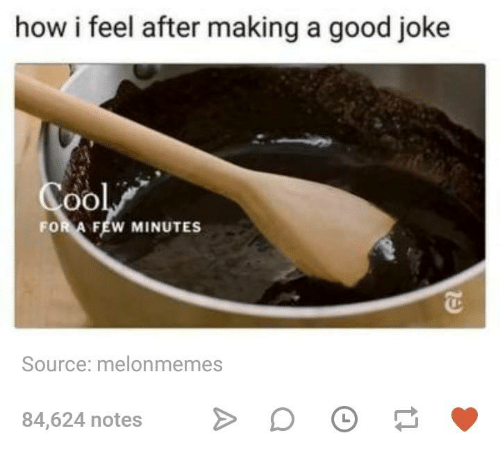 A Good Joke: how i feel after making a good joke  FOR A FEW MINUTES  Source: melonmemes  84,624 notes
