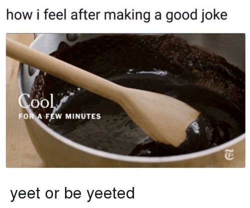 A Good Joke: how i feel after making a good joke  oO  FOR A FEW MINUTES yeet or be yeeted