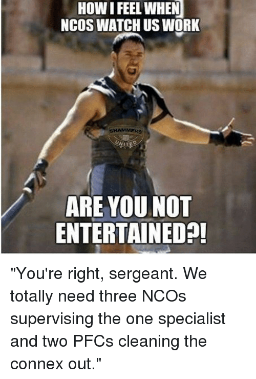 """how i feel when: HOW I FEEL WHEN  NCOS WATCH US WORK  SHAMMERS  ARE YOU NOT  ENTERTAINEDA! """"You're right, sergeant. We totally need three NCOs supervising the one specialist and two PFCs cleaning the connex out."""""""