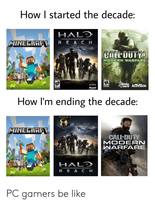 Be Like, Halo, and Microsoft: How I started the decade:  HALD  MINECRAFT  REACH  CALL DUTY4  OF  MODERN WARFARE  MATURE 17+  JEUNES ADULTES  RATING PENDING  RP  ntinitACTVISiON.  BUNGIE  COEME  ESRB  CONTENT RATED BY  Microsoft  game studios  ESRB  How I'm ending the decade:  HALO  MINELRAFT  CALL DUTY  MODERN  WARFARE  HALD  REA CH PC gamers be like