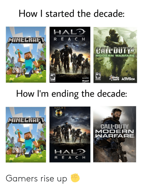 Halo, Microsoft, and Minecraft: How I started the decade:  HALD  MINECRAFT  REACH  CALL DUTY4  OF  MODERN WARFARE  UMES ADTES  RP  infinity  BUNGIE  war ACIIVISION  ESRB  Microsoft  gametudios  ESRB  How I'm ending the decade:  HALO  MINECRAFT  CALL DUTY  MODERN  WARFARE  HALD  REA CH Gamers rise up ✊