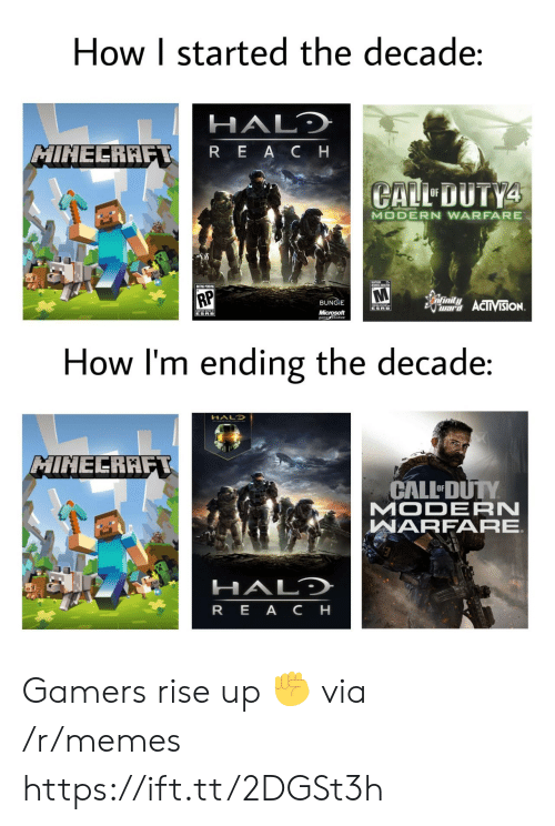 Halo, Memes, and Microsoft: How I started the decade:  HALO  MINEERAFT  REA C H  CALL DUTY4  OF  MODERN WARFARE  HUNS ADS  RP  Sinfinily  BUNGIE  ward ACTIVISION.  ESRB  Microsoft  gametudio  ESRB  How I'm ending the decade:  HALD  MINECRAFT  CALL DUTY  MODERN  WARFARE.  HALD  REA CH Gamers rise up ✊ via /r/memes https://ift.tt/2DGSt3h