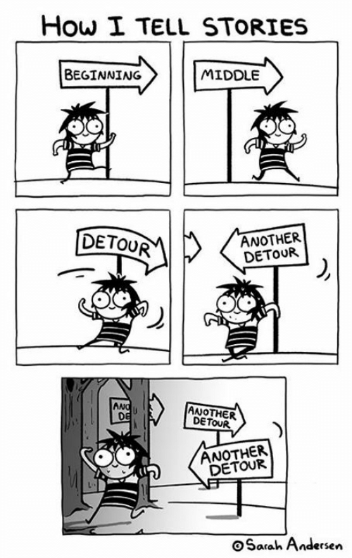 Memes, 🤖, and How: How I TELL STORIES  BEGINNING  MIDDLE  DETOUR  ANOTHER  DETOUR  ANG  DE  ANOTHER  DETOUR  ANOTHER  DETOUR  oSarah Andersen