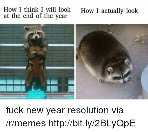New Year Resolution: How I think I will look  at the end of the year  How I actually look fuck new year resolution via /r/memes http://bit.ly/2BLyQpE