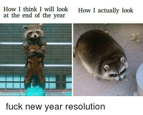 New Year Resolution: How I think I will look  at the end of the year  How I actually look fuck new year resolution
