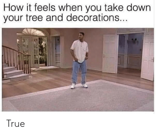 You Take: How it feels when you take down  your tree and decorations... True