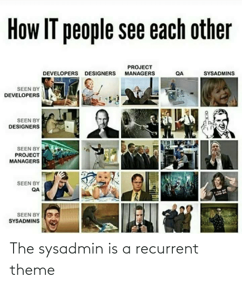 project: How IT people see each other  PROJECT  MANAGERS  SYSADMINS  DEVELOPERS DESIGNERS  QA  SEEN BY  DEVELOPERS  SEEN BY  DESIGNERS  SEEN BY  PROJECT  MANAGERS  SEEN BY  QA  AMD US  SEEN BY  SYSADMINS The sysadmin is a recurrent theme