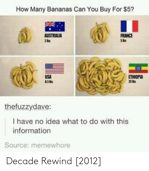 to-do-with: How Many Bananas Can You Buy For $5?  FRANCE  She  AUSTRALIA  USA  ETHIOPIA  thefuzzydave:  I have no idea what to do with this  information  Source: memewhore Decade Rewind [2012]