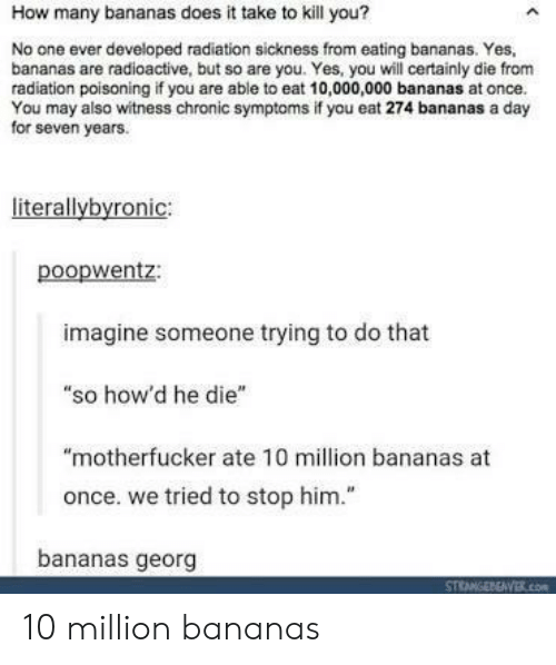 """Georg: How many bananas does it take to kill you?  No one ever developed radiation sickness from eating bananas. Yes,  bananas are radioactive, but so are you. Yes, you will certainly die from  radiation poisoning if you are able to eat 10,000,000 bananas at once.  You may also witness chronic symptoms if you eat 274 bananas a day  for seven years.  literallybyronic:  poopwentz:  imagine someone trying to do that  """"so how'd he die""""  """"motherfucker ate 10 million bananas at  once. we tried to stop him.""""  bananas georg 10 million bananas"""