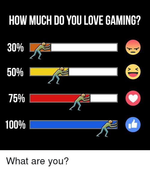 love game: HOW MUCH DO YOU LOVE GAMING?  30%  50%  75%  100% What are you?