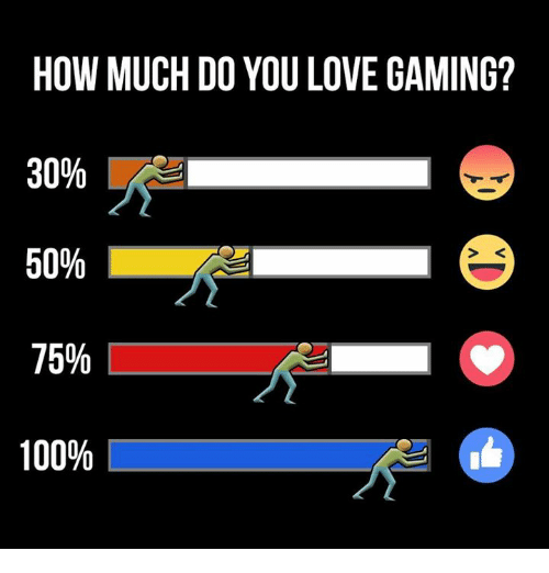 love game: HOW MUCH DO YOU LOVE GAMING?  30%  50%  75%  100%