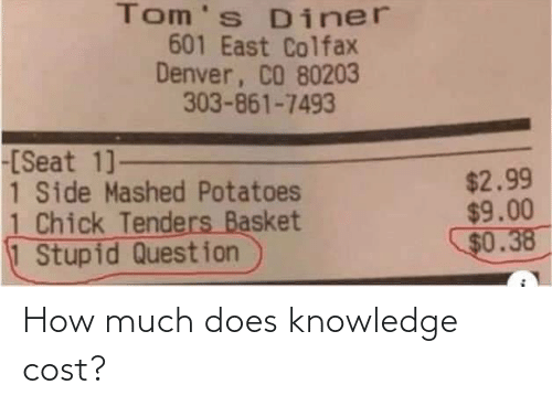 How Much: How much does knowledge cost?