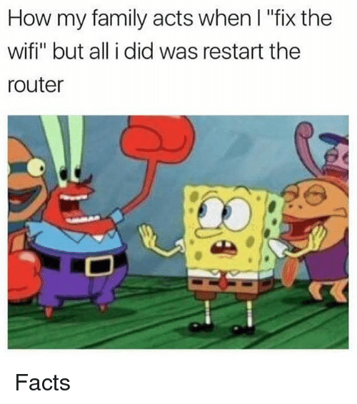"""Wify: How my family acts when l """"fix the  wifi"""" but all i did was restart the  router Facts"""