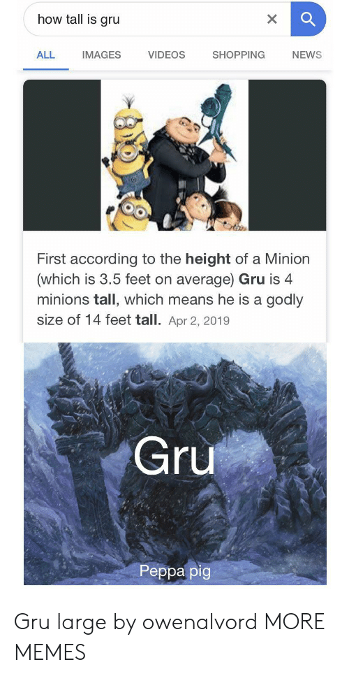 a minion: how tall is gru  X  VIDEOS  ALL  SHOPPING  NEWS  IMAGES  First according to the height of a Minion  (which is 3.5 feet on average) Gru is 4  minions tall, which means he is a godly  size of 14 feet tall. Apr 2, 2019  Gru  Реpра pig Gru large by owenalvord MORE MEMES