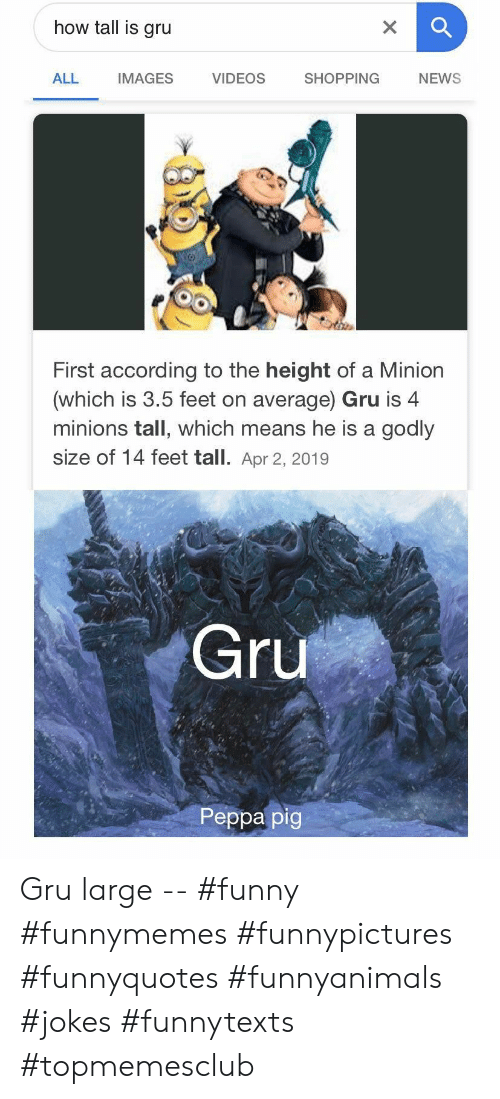 Funny, News, and Shopping: how tall is gru  X  VIDEOS  SHOPPING  ALL  IMAGES  NEWS  First according to the height of a Minion  (which is 3.5 feet on average) Gru is 4  minions tall, which means he is a godly  size of 14 feet tall. Apr 2, 2019  Gru  Peppa pig Gru large -- #funny #funnymemes #funnypictures #funnyquotes #funnyanimals #jokes #funnytexts #topmemesclub