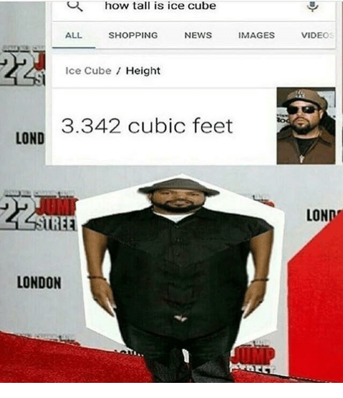 Ice Cube: how tall is ice cube  ALL  SHOPPING  NEWS  IMAGES  VIDEO  Ice Cube Height  3.342 cubic feet  LOND  STRE  LOND  LONDON
