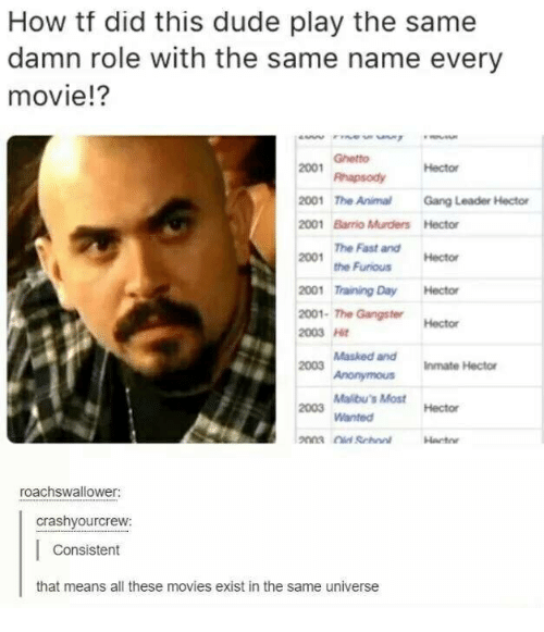Dude, Ghetto, and Movies: How tf did this dude play the same  damn role with the same name every  movie!?  2001 Ght  2001 The AnimalGang Leader Hector  2001 Barrio Murders Hector  Ghetto  RhapsodyHector  The Fast and  2001  the FuriousHector  2001 Training Day Hector  2001-The Gangster  2003 H  Hector  Masked andInmate Hector  2003  Malibu's Most  Wanted  2003  Hector  roachswallower:  crashyourcrew:  Consistent  that means all these movies exist in the same universe