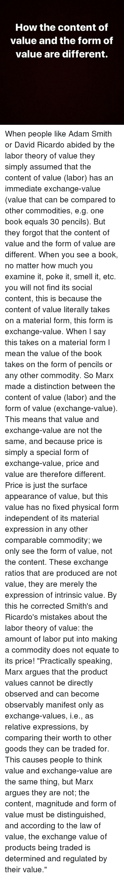 a comparison of adam smith and david ricardo on the theory of value