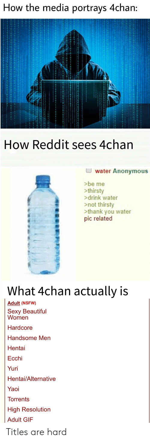 4chan, Beautiful, and Gif: How the media portrays 4chan:  1: 30  0  0 1 10  8 Jo  0 1 1  o 1 10  0  How Reddit sees 4chan  U water Anonymous  >be me  >drink water  >not thirsty  >thank you water  pic related  What 4chan actually is  Adult (NSFW)  Sexy Beautiful  Women  Hardcore  Handsome Men  Hentai  Ecchi  Yuri  Hentai/Alternative  Yaoi  Torrents  High Resolution  Adult GIF Titles are hard