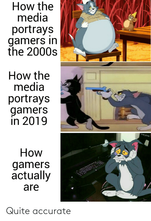 Quite: How the  media  portrays  gamers in  the 2000s  How the  media  portrays  gamers  in 2019  How  gamers  actually  are Quite accurate