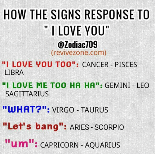 "Love, I Love You, and Aquarius: HOW THE SIGNS RESPONSE TO  I LOVE YOU  @Zodiac709  (revivezone.com)  "" LOVE VOU TOO"": CANCER PISCES  LIBRA  I LOVE ME TO0 HA HA: GEMINI LEO  SAGITTARIUS  WHAT"": VIRGO TAURUS  ""Let's bang: ARIES SCORPIO  ""um"": CAPRICORN- AQUARIUS"