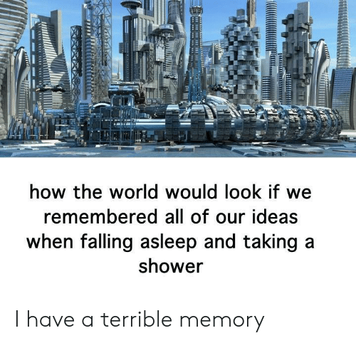 taking a shower: how the world would look if we  remembered all of our ideas  when falling asleep and taking a  shower I have a terrible memory